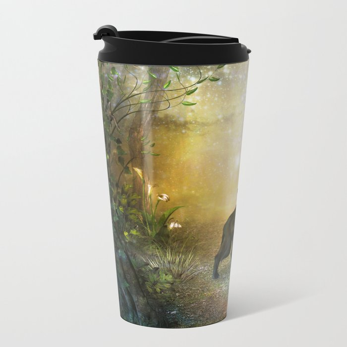 The lonely wolf Metal Travel Mug