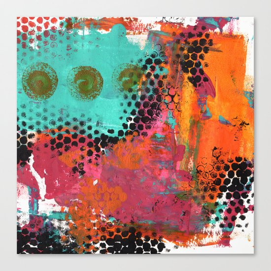 Original Abstract Grunge Painted  Art Canvas Print