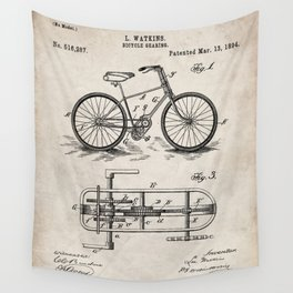 Bike Patent - Bicycle Art - Antique Wall Tapestry