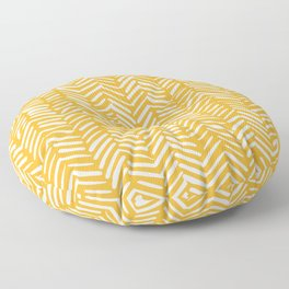 Boho Abstract Herringbone Pattern, Summer Yellow Floor Pillow