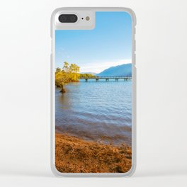 Glenorchy Wharf and pier at golden hour in New Zealand Clear iPhone Case