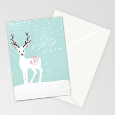 Let it snow- have a nice winter time- deer and snow Stationery Cards