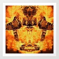 Burning Astronaut Art Print