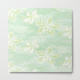 Green Watercolor Hibiscus Jungle Print Metal Print