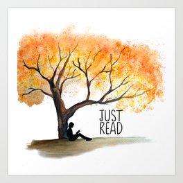 Just read Tree Theme Art Print