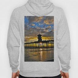 Sunset Huntington Beach Pier  Hoody