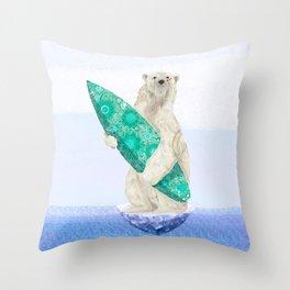 Polar bear & Surf (green) Throw Pillow