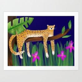 Cheetah in Jungle tree Art Print