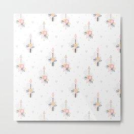 Bohemian pastel pink ivory blue hand painted arrows floral Metal Print