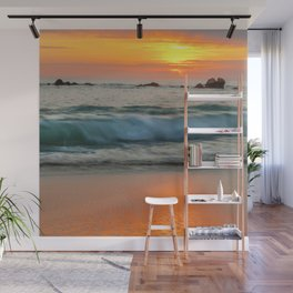 Golden sunset with turquoise waters Wall Mural