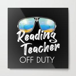 Reading teacher off duty sunglasses beach sunset Metal Print
