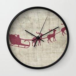 Rustic Santa and Reindeer Wall Clock