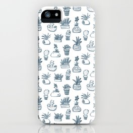 Blue Inky Cacti iPhone Case
