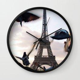 Paris Eiffel tower and flight of birds Wall Clock
