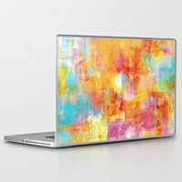 jazzberry Laptop & iPad Skins featuring OFF THE GRID Colorful Pastel Neon Abstract Watercolor Acrylic Textural Art Painting Nature Rainbow  by EbiEmporium