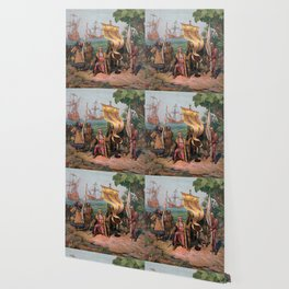 Columbus Landing in America Painting (1892) Wallpaper