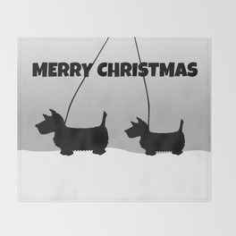 Scottish White Christmas Throw Blanket