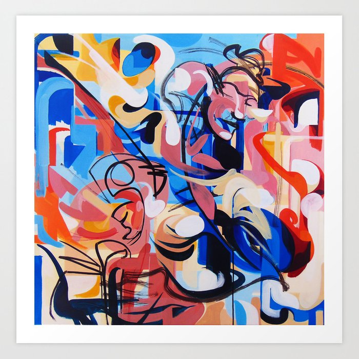 Expressive Abstract People Composition painting Kunstdrucke