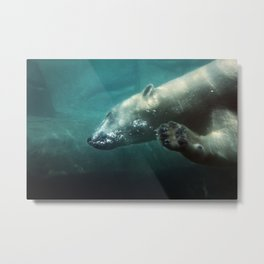 Polar Bear Waving Metal Print