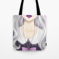 pastel goth Tote Bags featuring Pastel Goth Girl by Elisa Ellie Serio
