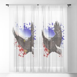 Bald Eagle - Red, White & Blue Sheer Curtain
