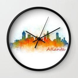 Atlanta City Skyline Hq v3 Wall Clock