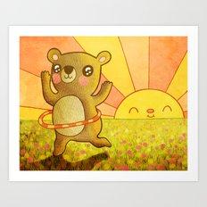 Hula Bear Art Print