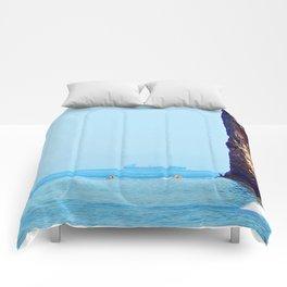 Man and Perce Rock Panoramic Comforters