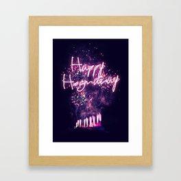 Happy Hogmanay fireworks over Edinburgh Castle Framed Art Print