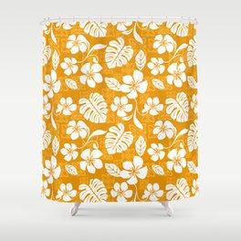 Orange & White Hibiscus Aloha Hawaiian Flower Blooms and Tropical Banana Leaves Pattern Shower Curtain