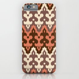 Moroccan Ikat Damask, Brown, Cream Taupe & Rust iPhone Case