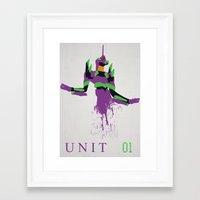 evangelion Framed Art Prints featuring Evangelion Unit 01 by DaveBot