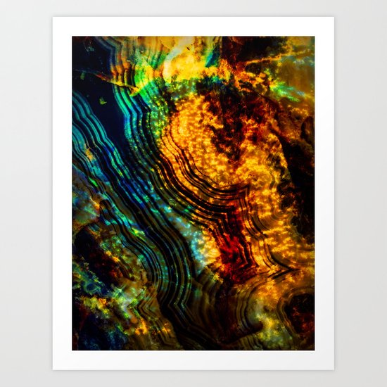 blue orange crystal Art Print