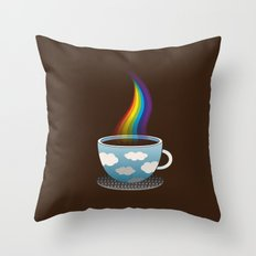 Cup of Rainbow Throw Pillow