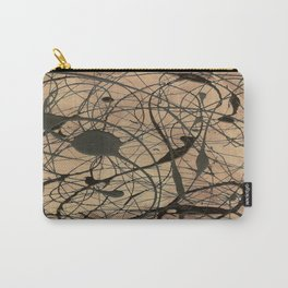 Pollock Inspired Abstract Black On Beige Corbin Art Contemporary Neutral Colors Carry-All Pouch