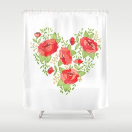 Rose Heart watercolor Shower Curtain