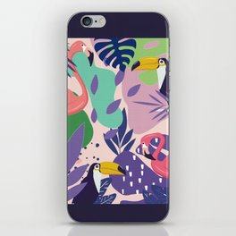 Tropical Jungle With Flamingos And Toucans Memphis Style iPhone Skin