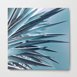 Palm Rays - Duotone Black and Teal Metal Print