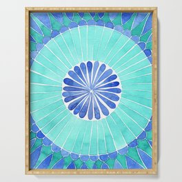 mosaic blue and green palette watercolor Serving Tray