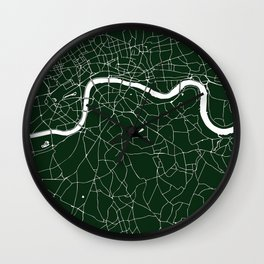 Green on White London Street Map Wall Clock