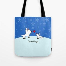 Sweet Deer Holiday Greetings Tote Bag