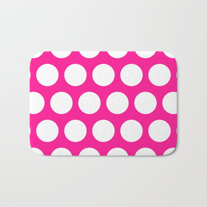 Big polka dots on deep pink Bath Mat