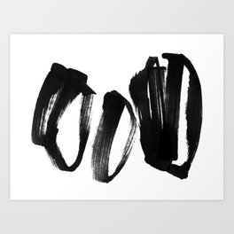 Black and White Abstract Shapes Ink Painting - Horizontal Art Print