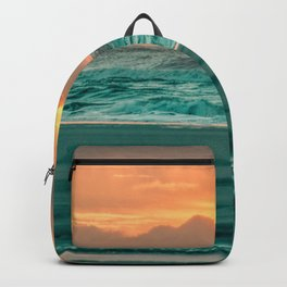 Turquoise Ocean Pink Sunset Backpack