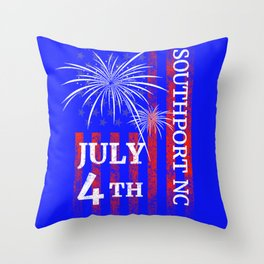 Southport NC 4th of July Independence Day Throw Pillow