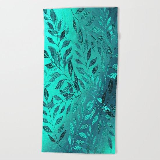 Monochrome Leaf Arrangement (Teal) Beach Towel