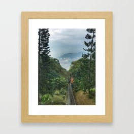 Downhill shot from a lifting up Train. Framed Art Print