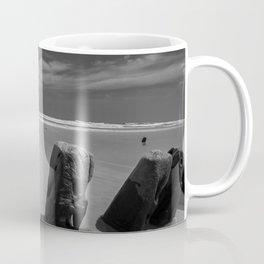 Calm beach on Assateague Island (black and white) Coffee Mug
