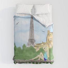 Sunny day in Paris Comforters