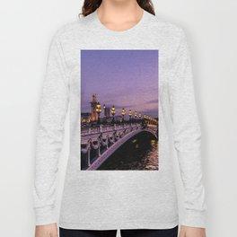 Sunset over Paris Bridge (Color) Long Sleeve T-shirt